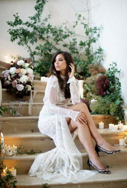 Mira bride wearing Kiera gown