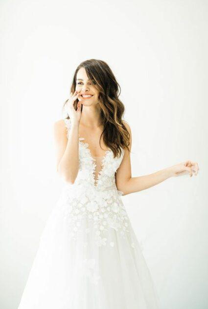 Mira bride wearing Julie gown