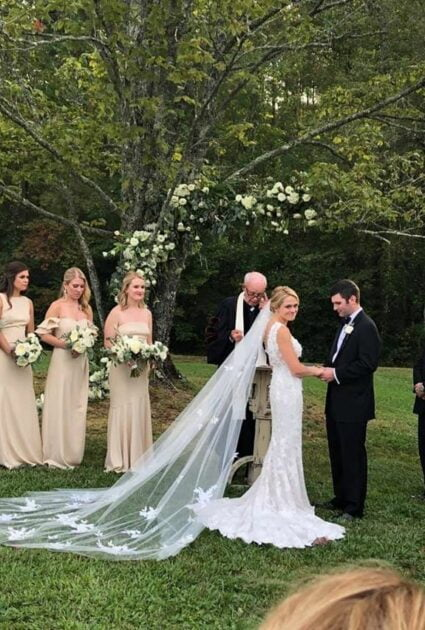 Kathleen wearing Veronica gown with Matching Veil