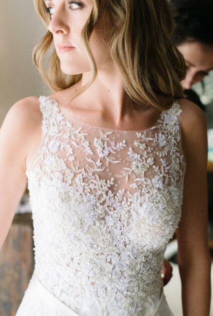 Rachel wearing Lihi gown