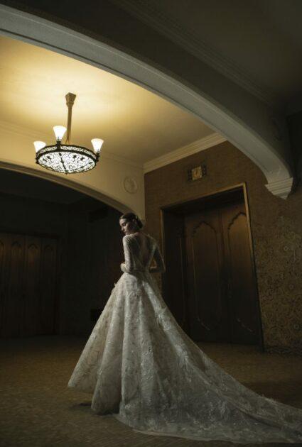Mira bride wearing Stefania gown