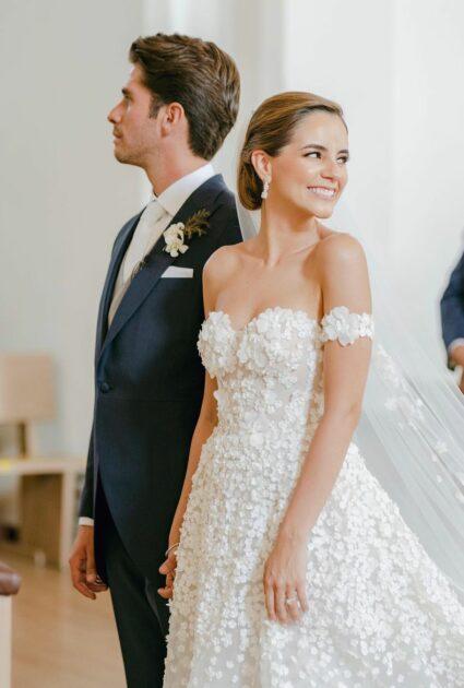 Rebeca wearing Gigi gown & matching cuffs