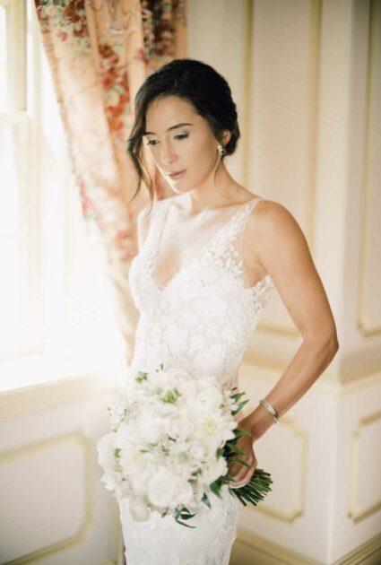 Mira bride wearing Verona gown