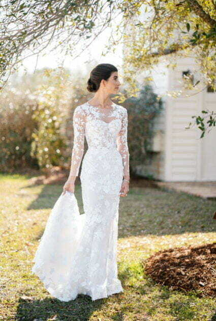 Katherine is wearing Verona strapless gown with detachable Topper