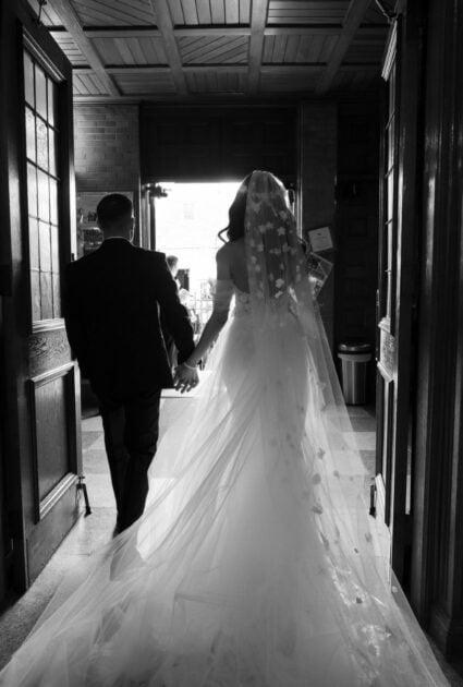 Daniella wearing Lulu gown and matching veil